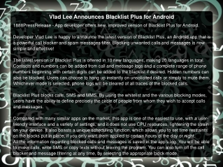 Vlad Lee Announces Blacklist Plus for Android