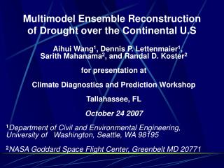 Multimodel Ensemble Reconstruction  of Drought over the Continental U.S
