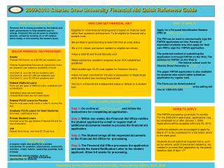 2009-2010 Charles Drew University Financial Aid Quick Reference Guide