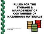 RULES FOR THE STORAGE  MANAGEMENT OF CONTAINERS OF HAZARDOUS MATERIALS