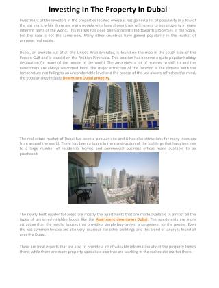 Investing In The Property In Dubai