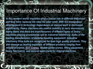 Importance Of Industrial Machinery