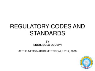 REGULATORY CODES AND STANDARDS