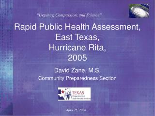 Rapid Public Health Assessment, East Texas,  Hurricane Rita, 2005