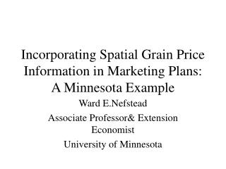 Incorporating Spatial Grain Price Information in Marketing Plans: A Minnesota Example