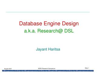 Database Engine Design a.k.a. Research DSL