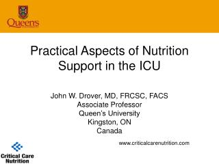 Practical Aspects of Nutrition Support in the ICU