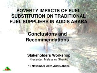 POVERTY IMPACTS OF FUEL SUBSTITUTION ON TRADITIONAL FUEL SUPPLIERS IN ADDIS ABABA