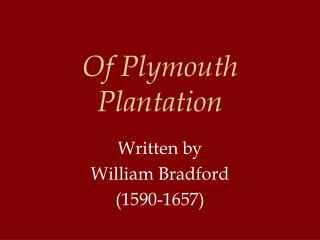 Of Plymouth Plantation
