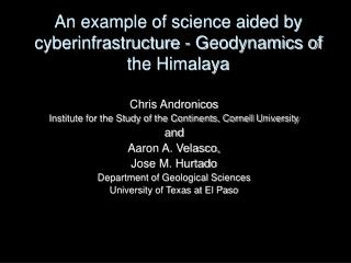 An example of science aided by cyberinfrastructure - Geodynamics ...