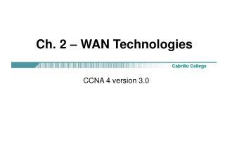 Ch. 2   WAN Technologies