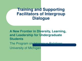 Training and Supporting Facilitators of Intergroup Dialogue