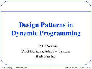 Design Patterns in Dynamic Programming