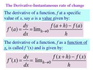 The Derivative-Instantaneous rate of change
