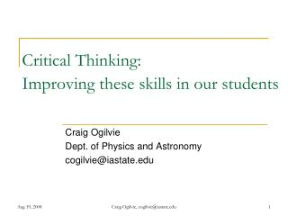Critical Thinking: Improving these skills in our students
