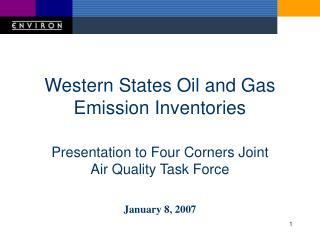 Western States Oil and Gas Emission Inventories