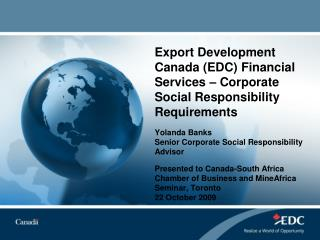 Export Development Canada EDC Financial Services   Corporate Social Responsibility Requirements