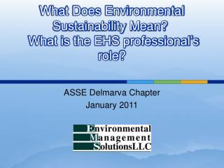 What Does Environmental Sustainability Mean   What is the EHS professional s role