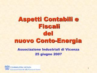 Aspetti Contabili e  Fiscali  del  nuovo Conto-Energia