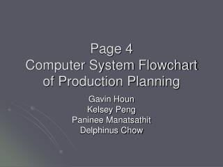 Page 4 Computer System Flowchart of Production Planning
