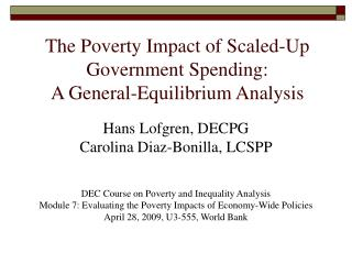 The Poverty Impact of Scaled-Up Government Spending:  A General-Equilibrium Analysis