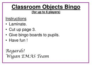Classroom Objects Bingo  for up to 6 players