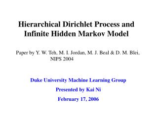Hierarchical Dirichlet Process and Infinite Hidden Markov Model