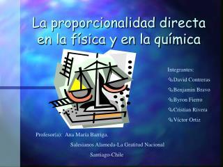 La proporcionalidad directa en la f sica y en la qu mica