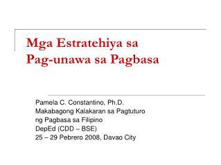Mga Estratehiya sa  Pag-unawa sa Pagbasa