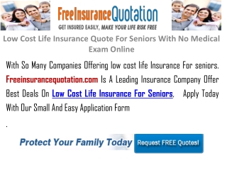 Low Cost Life Insurance Quote For Seniors,