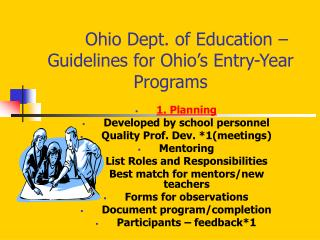 Ohio Dept. of Education   Guidelines for Ohio s Entry-Year Programs