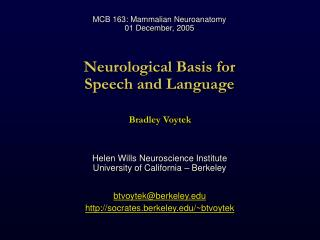 Neurological Basis for Speech and Language