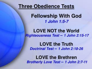 Three Obedience Tests