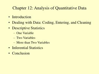 Chapter 12: Analysis of Quantitative Data