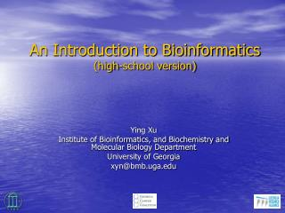 An Introduction to Bioinformatics high-school version