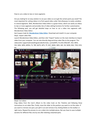 How to cut video to two or more clips