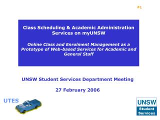 UNSW Student Services Department Meeting  27 February 2006