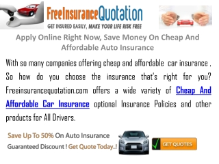 Save Money On  Cheap And Affordable Auto Insurance
