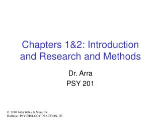 Chapters 12: Introduction and Research and Methods