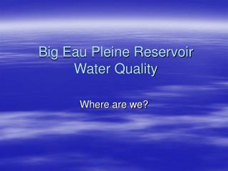 Big Eau Pleine Reservoir Water Quality