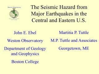The Seismic Hazard from Major Earthquakes in the Central and Eastern U.S.