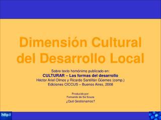 Dimensi n Cultural del Desarrollo Local