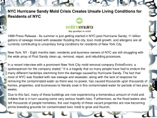 NYC Hurricane Sandy Mold Crisis Creates Unsafe Living Condit