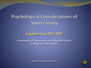 Psychological Considerations of Sports Injury