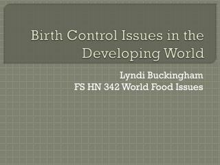 birth control in the developing world