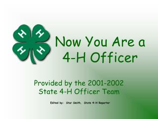 Now You Are a 4-H Officer