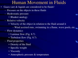 Human Movement in Fluids