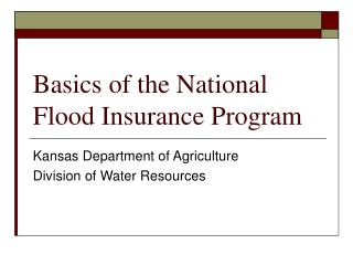 Basics of the National Flood Insurance Program