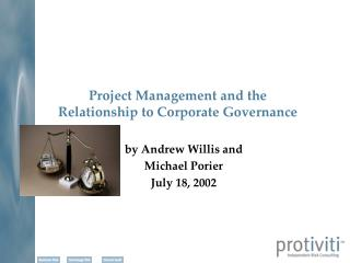 Project Management and the  Relationship to Corporate Governance