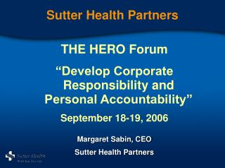 Sutter Health Partners